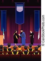 podio, ragazza, graduazione