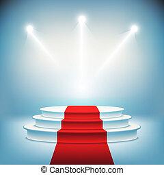 podio, vector, iluminado, etapa