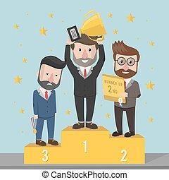 podio, vincitori, uomo affari