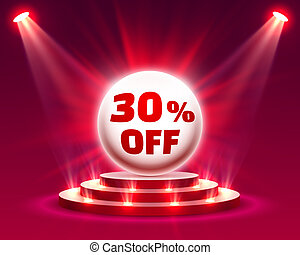 Podium 30 off with share discount percentage. Vector ...