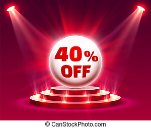 Podium 40 off with share discount percentage. Vector ...