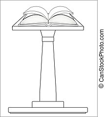 podium, biblia, otwarty