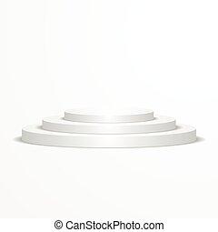 podium, blanc, rond
