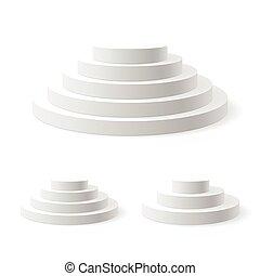 Podium - Vector illustration of three podiums