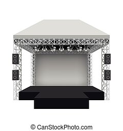 Podium concert stage. Vector illustration