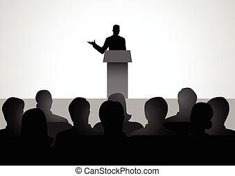 podium, człowiek