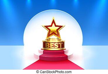 podium, doré, scène, étape, gagnant, cérémonie, nuit, récompense, arrière-plan., mieux, tasse, étoile