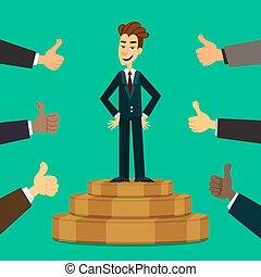 podium, eps10, autour de, business, beaucoup, concept., fier, jeune, haut, him., directeur, pouces, vector., mains, homme affaires, ou, compliment, heureux