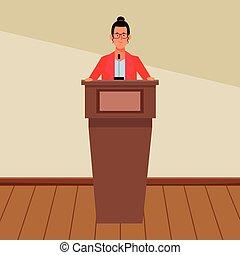 podium, femme