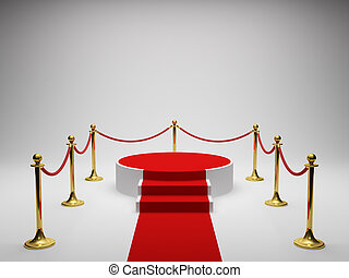 Podium for winner with red carpet