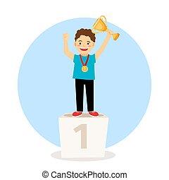 podium, gewinner, junges kind