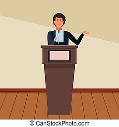podium, homme