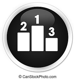 Podium icon black glossy round button
