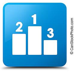 Podium icon cyan blue square button
