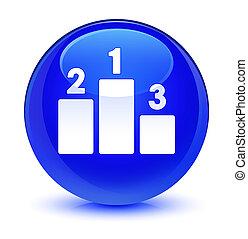 Podium icon glassy blue round button