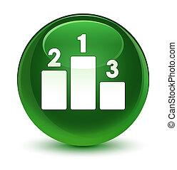 Podium icon glassy soft green round button