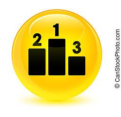 Podium icon glassy yellow round button