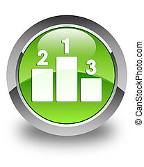 Podium icon glossy green round button