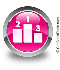 Podium icon glossy pink round button