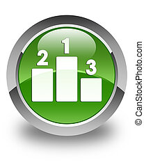 Podium icon glossy soft green round button