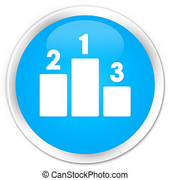 Podium icon premium cyan blue round button