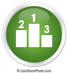 Podium icon premium soft green round button
