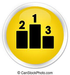 Podium icon premium yellow round button