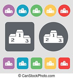 Podium icon sign. A set of 12 colored buttons. Flat design. Vector