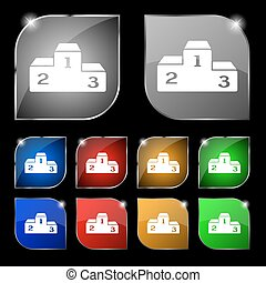 Podium icon sign. Set of ten colorful buttons with glare. Vector