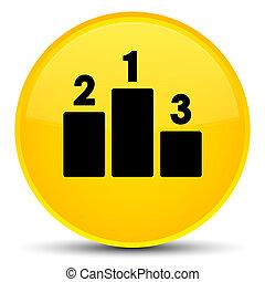 Podium icon special yellow round button