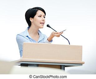 podium, kvinna, högtalare, nätt