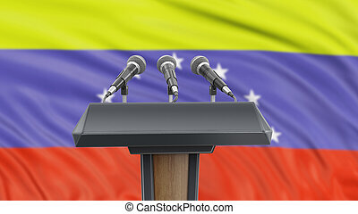 Podium lectern with microphones and Venezuelan flag in background