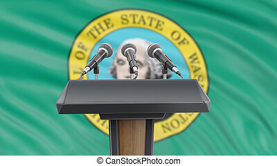 Podium lectern with microphones and Washington flag in background