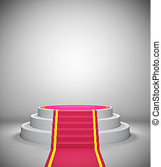 podium, lege, rood tapijt