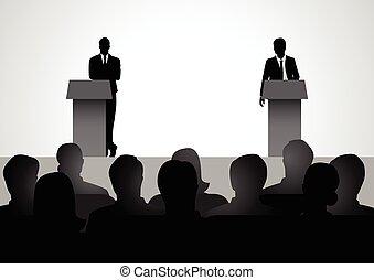 podium, maenner, debattieren, zwei, figur