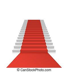 podium, med, röd, carpet.
