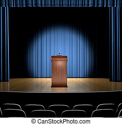 Podium On Stage - A podium in a spot light on stage.