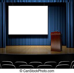 Podium On Stage - A Stage with a screen for copy and a...