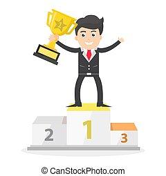 podium, plat, ascenseur, vecteur, illustration, victoire, conception, réussi, homme affaires, trophée