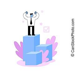 podium, plat, illustration., vecteur, blanc, reussite, sommet, homme affaires, arrière-plan., isolé, business, concept.