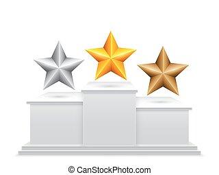 podium, récompense, étoiles