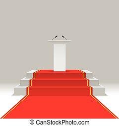 podium, rood tapijt