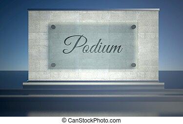 Podium sign on stone pedestal