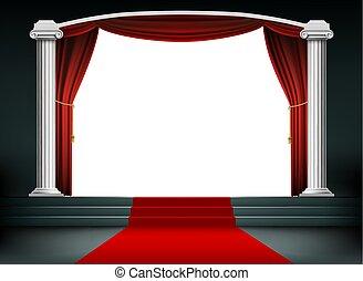 podium, stappen, rood tapijt