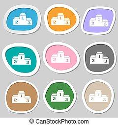 Podium symbols. Multicolored paper stickers. Vector