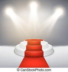 podium, tien, carpet., eps, rood
