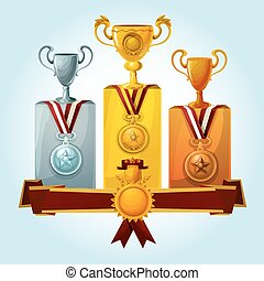 podium, trophées