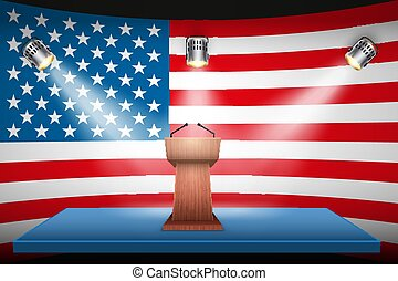 podium, usa, élection, tribune, 2020, symbole