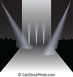 podium, vecteur, spectateurs, projecteurs