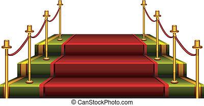 Podium - Red podium isolated on white background, vector...